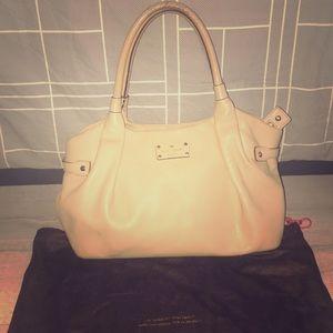 "Kate spade purse tan gold 16"" x 10"" hobo leather"